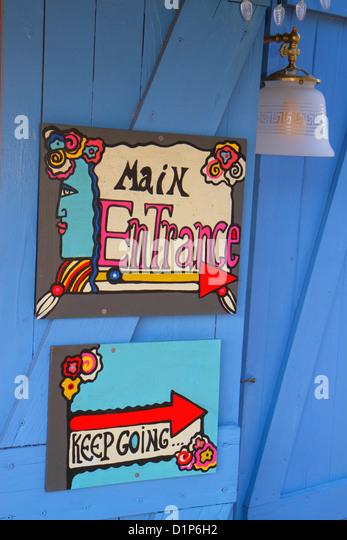 Florida Key West Florida Keys Bahamas Village Petronia Street Blue Heaven restaurant main entrance hand-painted - Stock Image