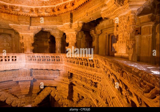 Interior of Jain Temple, Jaisalmer, Rajasthan, India, Asia - Stock-Bilder