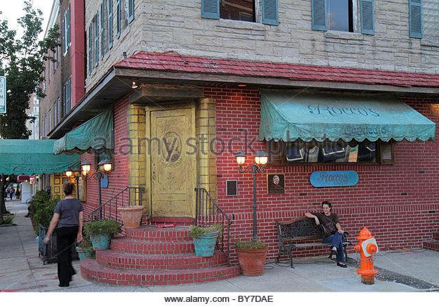Baltimore Maryland Little Italy ethnic neighborhood Rocco's Capriccio restaurant business Italian cuisine entrance - Stock Image