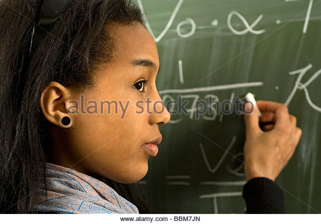 ... , at the blackboard and learning the Gay-Lussac law - Stock Image: www.alamy.com/stock-photo/unsmilingly.html