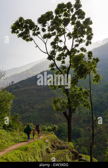 Nepalese Family Hiking Mountain Trail Village Sunset.Young Group People Climbing Track Traveler Beautiful End Noth - Stock Image