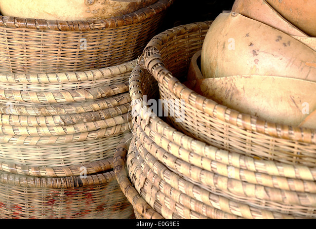Stacked baskets-Ziguinchor-Senegal - Stock Image