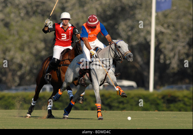 Polo players in action  during match at Santa Maria polo club, Sotogrande, Costa del Sol - Stock Image