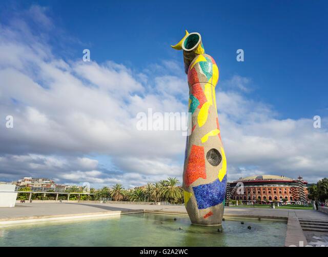 Miró-statue Dona i Ocell, woman and bird, Parc de Joan Miró, Barcelona, Catalonia, Spain, Europe - Stock Image