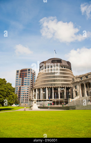Beehive, the New Zealand Parliament Buildings, Wellington, North Island, New Zealand - Stock-Bilder