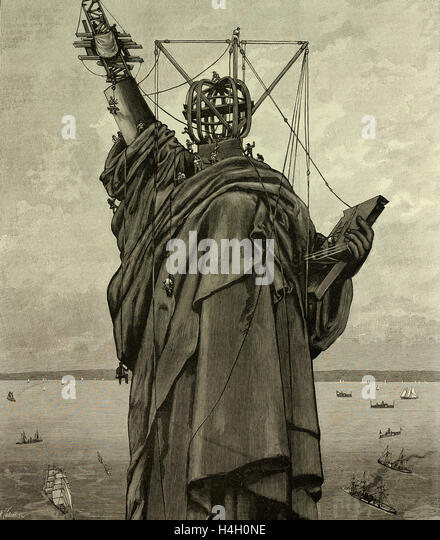 The Statue of Liberty in New York, the end of the construction, USA, United States, America, 1886 - Stock-Bilder
