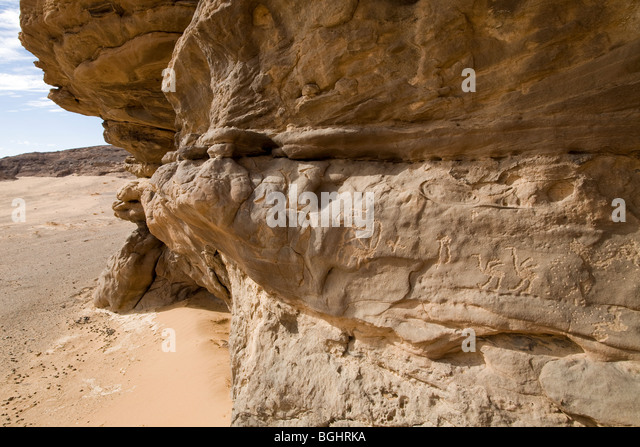 Wadi floor showing rock face with ancient Rock-Art  in the Eastern Desert of Egypt. - Stock Image