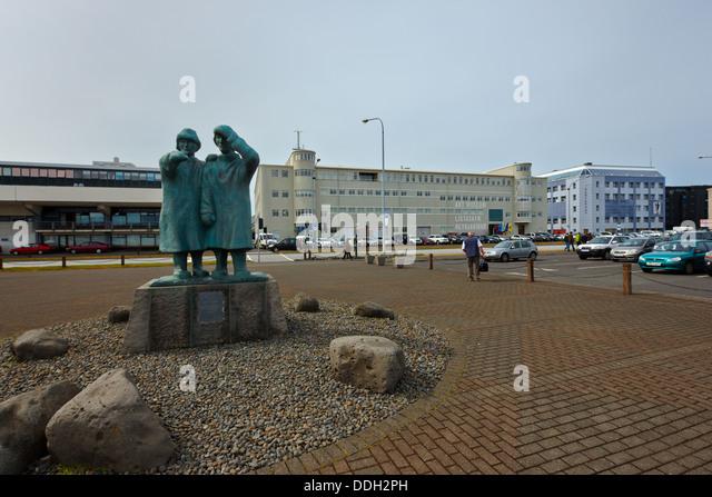 Fisherman sailors statue, Reykjavik, Iceland - Stock Image