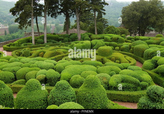 The picturesque gardens of Marqueyssac Dordogne France - Stock Image