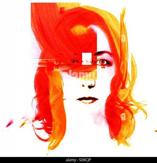 Orange and Yellow Woman done in a modern style - Stock Image
