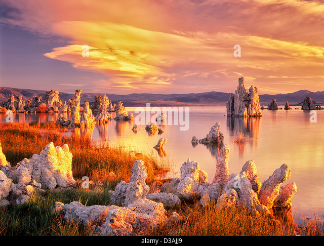 Tufa at Mono Lake with sunrise. California - Stock Image