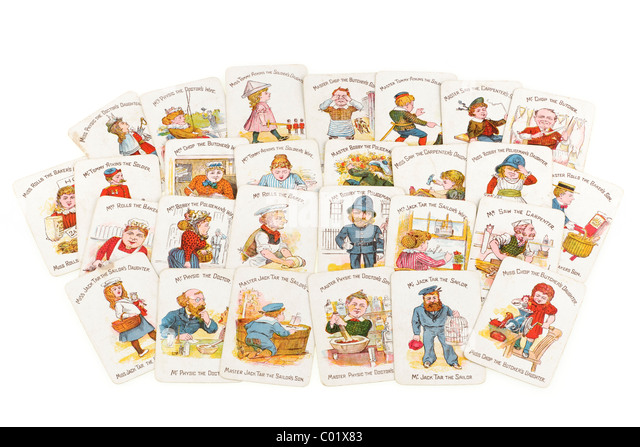 Pile of Victorian happy family funny families playing cards. EDITORIAL ONLY - Stock-Bilder