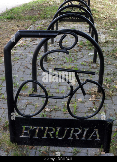 Welcome to Etruria, a great place to visit the canal or park up your bike . Stoke on Trent , Staffordshire , England - Stock Image