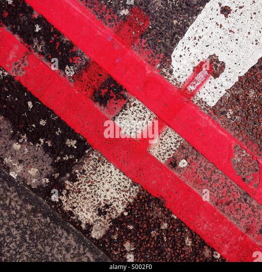 Road marking graffiti - Stock Image