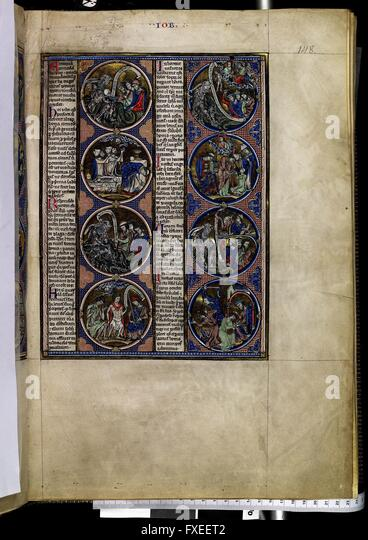 Cod. 1179, fol. 148r: Bible moralisée: Szenen zum Buch Hiob - Stock Image