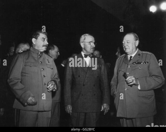 Potsdam conference. Truman, Stalin and Churchill 1945 World War II National Archives - Washington - Stock Image