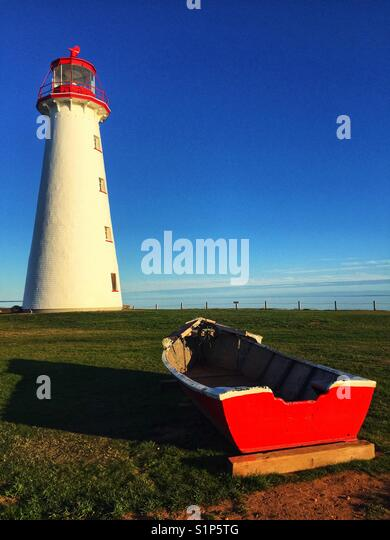Lighthouse in Point Prim, Prince Edward Island. - Stock Image