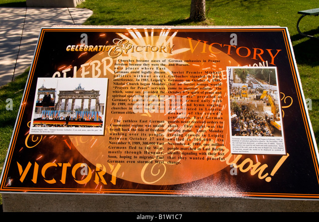 Berlin Wall Memorial Park Rapid City South Dakota Victory Marker Plaque - Stock Image
