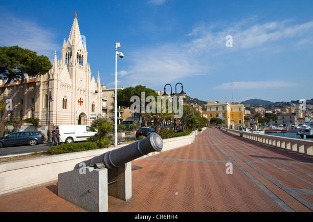 Promenade at Porto Maurizio, Church of the sailors, , port city on the Ligurian coast, Riviera di Ponente, Liguria, - Stock Image