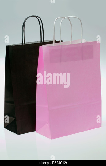 Black and Pink paper shopping bags - Stock Image