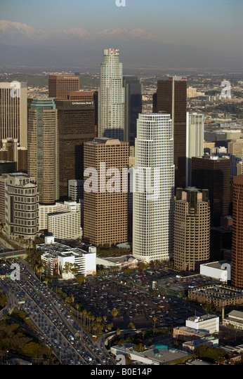 aerial downtown Los Angeles, CA LA KPMG Ernst and Young Wells Fargo Aon traffic - Stock Image