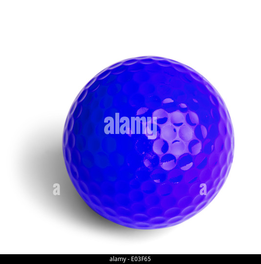 Blue Miniature Golf Ball Isolated On White Background. - Stock Image