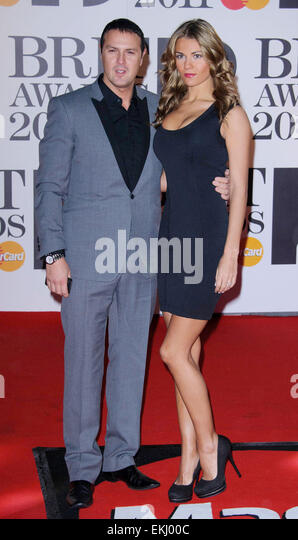 15.FEBRUARY.2011. LONDON  PATRICK McGUINNESS AND CHRISTINE MARTIN AT THE BRIT AWARDS 2011 HELD AT THE O2 ARENA IN - Stock Image