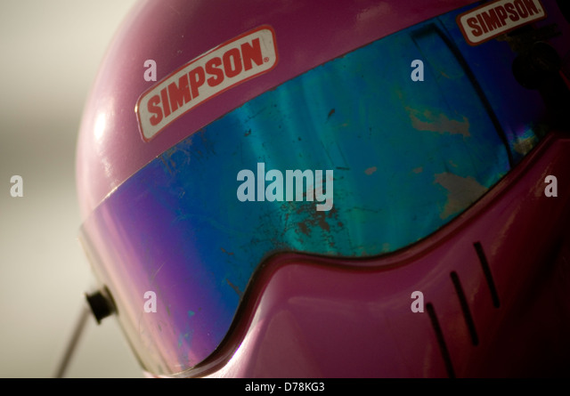 simpson bandit racing crash helmet - Stock Image