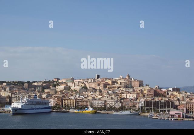 Cagliari skyline, Sardinia, Europe, Cagliari Sardinia skyline town city skyline cityscape port harbour harbor travel - Stock Image