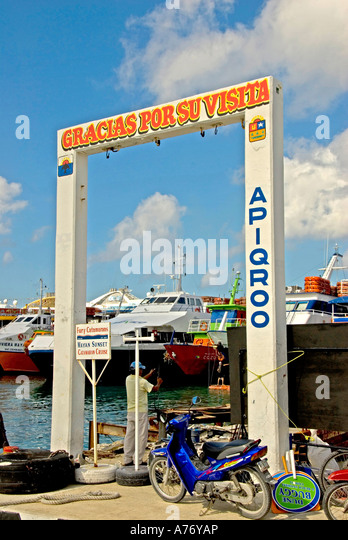 Cozumel Mexico San Miguel town harbour ferry pier sign - Stock Image