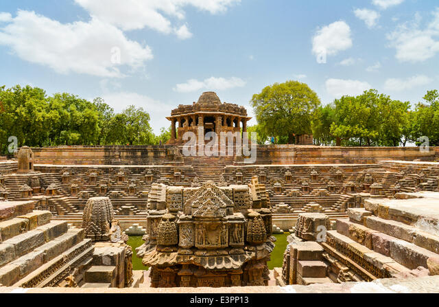 Constructed in 1026-27 A.D. during the reign of King Bhimdev I of Patan, the temple is dedicated to Surya or the - Stock Image