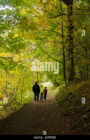 A family of three people walk in a forest during autumn. - Stock Image