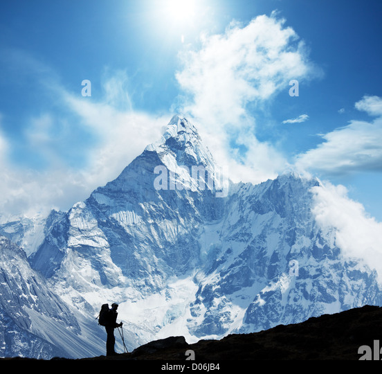 Climber in Himalayan mountain - Stock Image