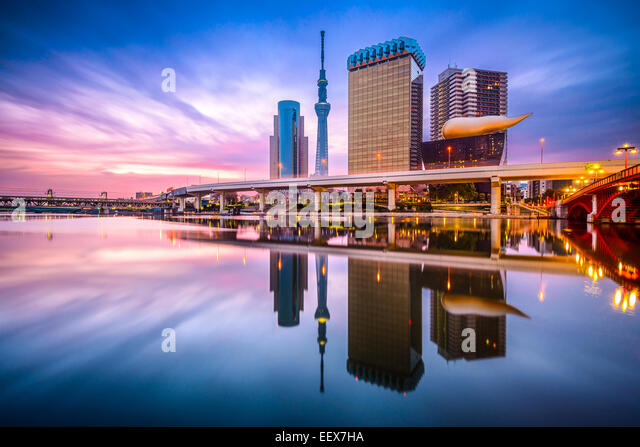 Tokyo, Japan skyline on the Sumida River at dawn. - Stock Image