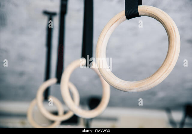 Closeup image of a fitness rings in gym - Stock-Bilder
