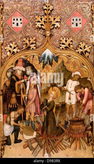 Bernat Martorell, Martyrdom of Saint Lucy 1435-1440 Tempera and gold leaf on wood. Museu Nacional d'Art de Catalunya, - Stock Image