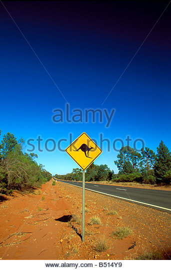 kangaroo crossing traffic warning sign at a road in the outback of Australia - Stock Image