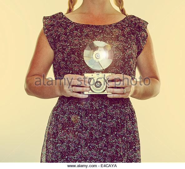 woman vintage camera - Stock-Bilder