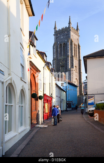 High Street and Church of St. Peter and St. Paul, Cromer, Norfolk, England, United Kingdom, Europe - Stock Image