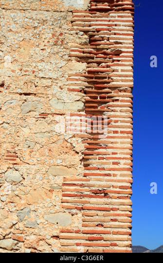bricks corner detail in masonry wall ancient monastery architecture - Stock Image