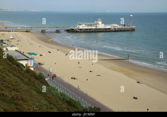 Bournemouth, UK -  11 May: Bournemouth Pier from the West Cliff. General view of the seaside town of  Bournemouth - Stock Image