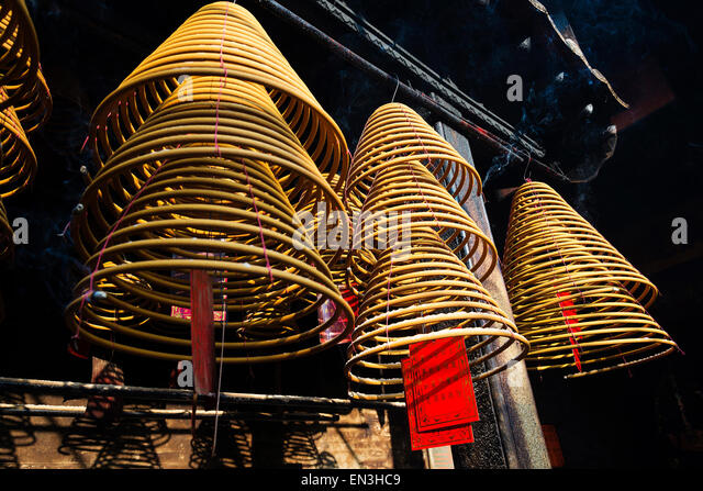 chinese incense coils burning in a-ma ama temple in macao macau china - Stock Image