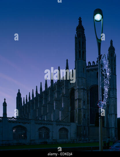 King's College Chapel Cambridge with Christmas illuminations - Stock Image