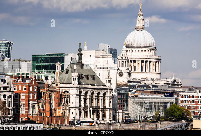 The London skyline and the dome of Saint Paul's Cathedral, London, England. - Stock Image