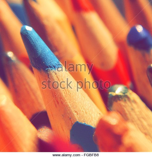 Close-Up Of Colored Pencils - Stock-Bilder