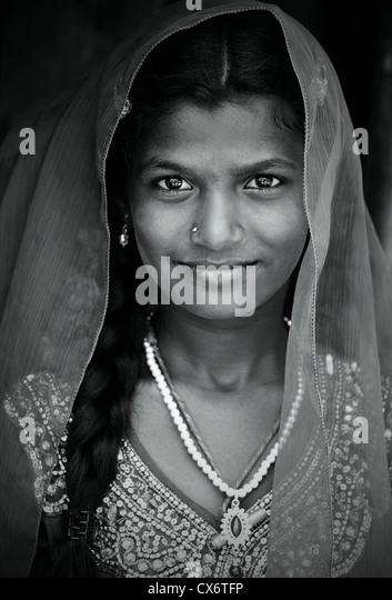 Indian girl portrait monochrome Andhra Pradesh South India - Stock-Bilder