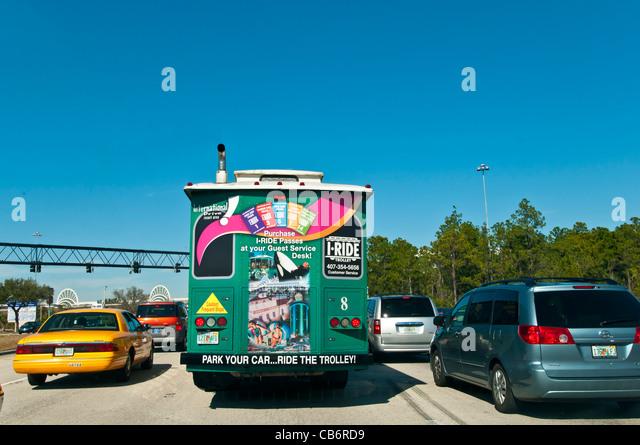 I-Ride Trolley bus, International Drive Resort Area, Orlando, Florida - Stock Image