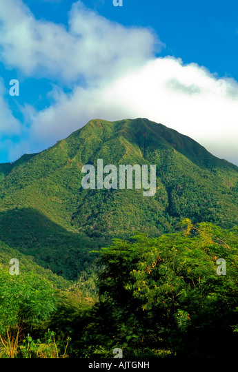 Mount Nevis peak, green volcano peak, Caribbean island, cloud cover at the top, blue sky background, national symbol - Stock Image