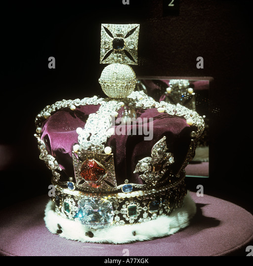 London, The Crown Jewels are kept Locked away inthe Tower of London. The Imperial State Crown - Stock Image