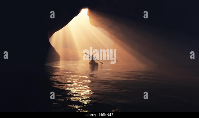 Kayaker afloating to the cave. This is a 3d render illustration - Stock Image